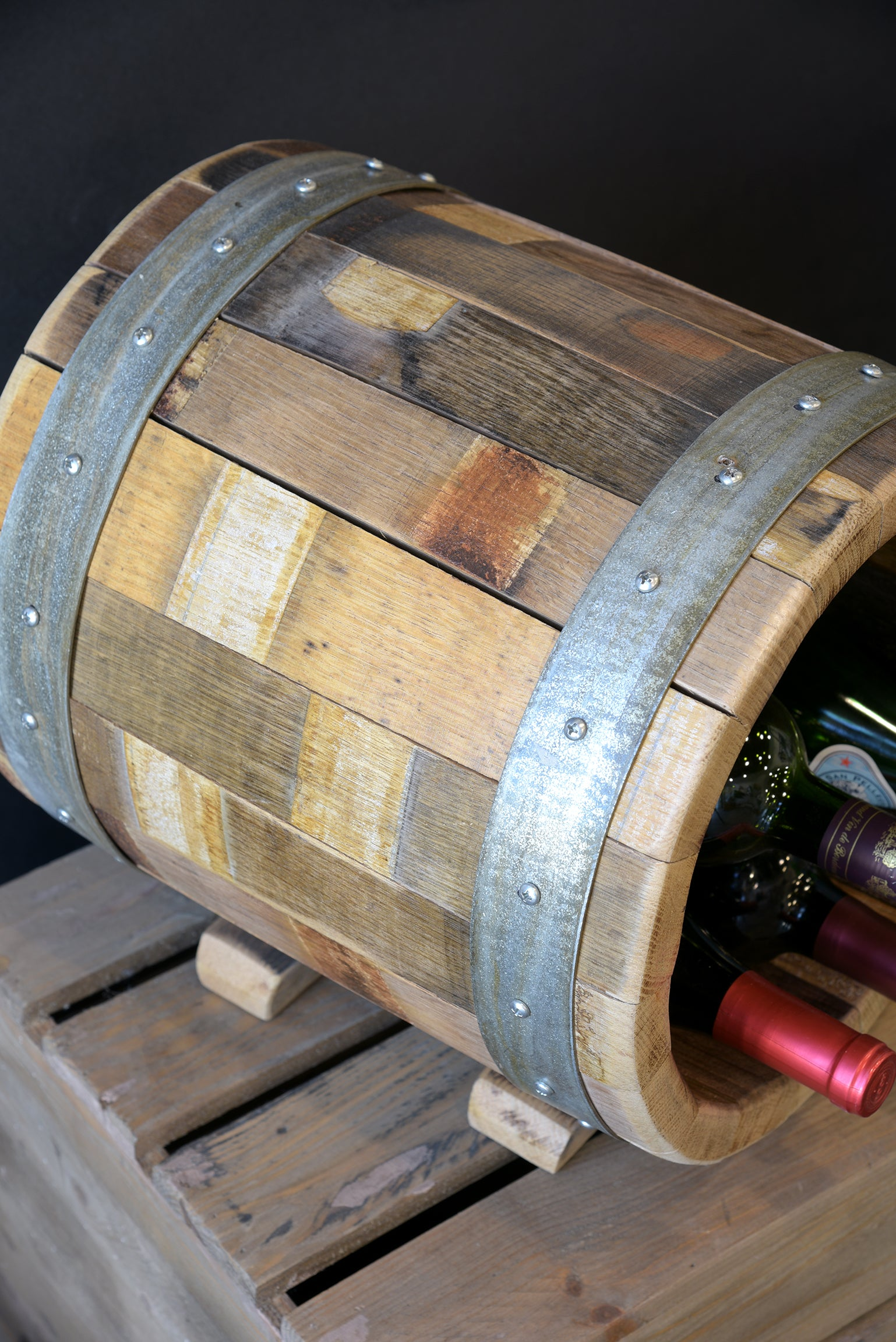Mini Reclaimed Repurposed Oak Wine Barrel Bottle Holder