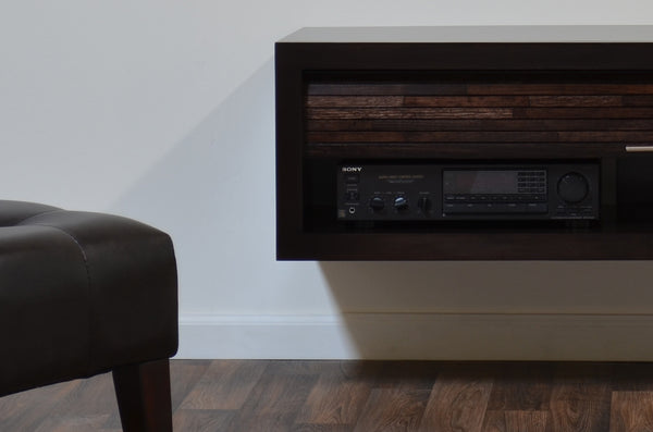 floating tv stand black glass ikea hack minimalist espresso