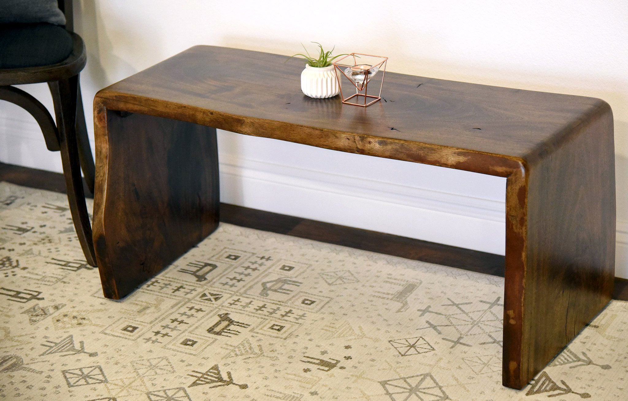 Mitered Live Edge Slab Bench Coffee Table Reclaimed Wood