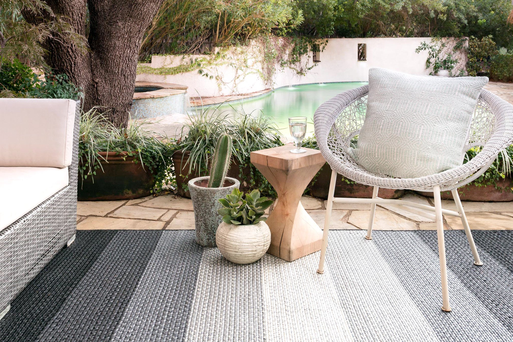 Modern Black Gray Striped Outdoor Rug Woodwaves