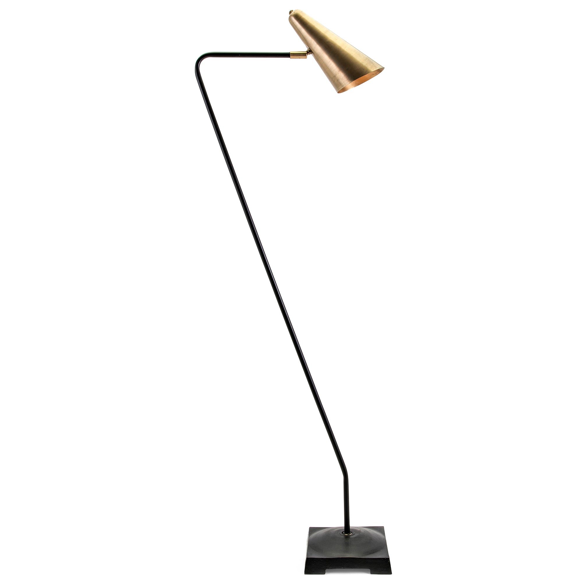 Modern Black Iron and Brass Gold Floor Lamp