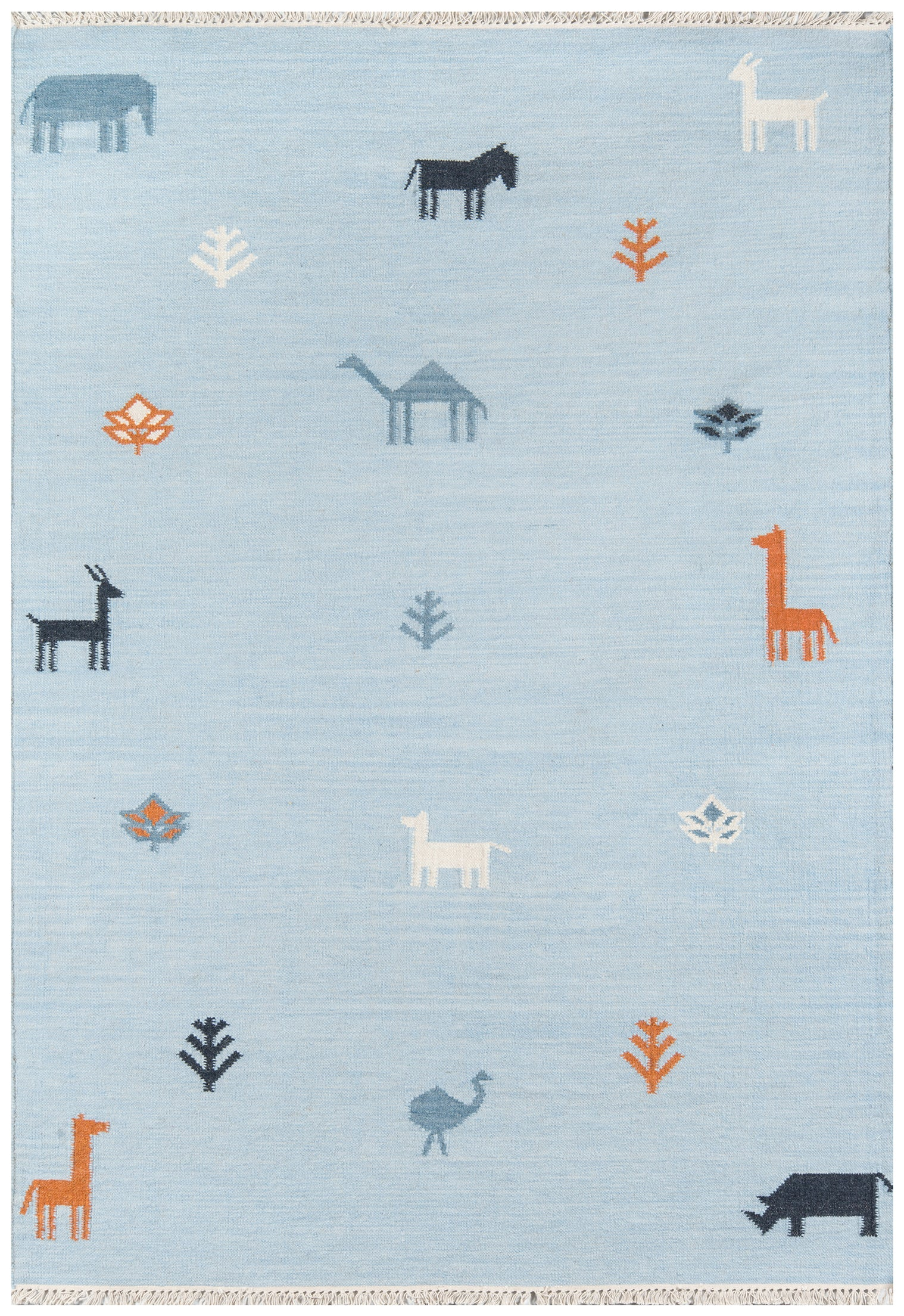 Modern Blue Handwoven Wool Kids Rug With Animals - Erin Gates - Thompson