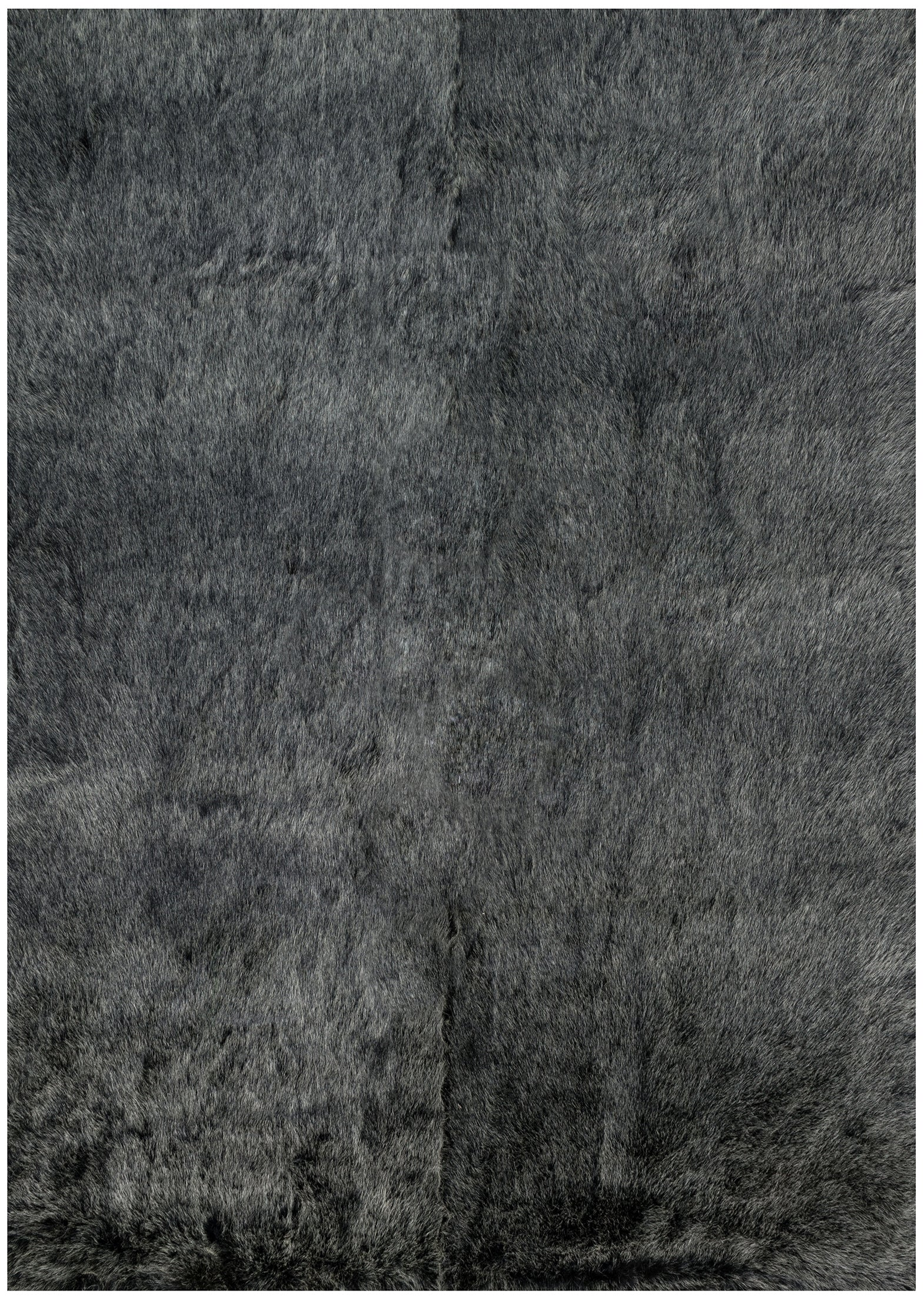 Modern Charcoal Black Faux Fur Area Rug
