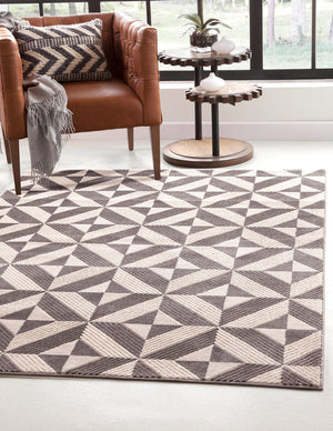 Modern Charcoal Gray Diamond Triangle Pattern Rug