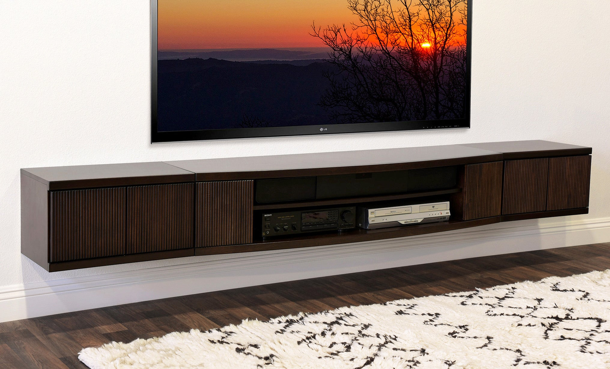 Floating Wall Mount Entertainment Center TV Stand   Curve   3 Piece    Espresso