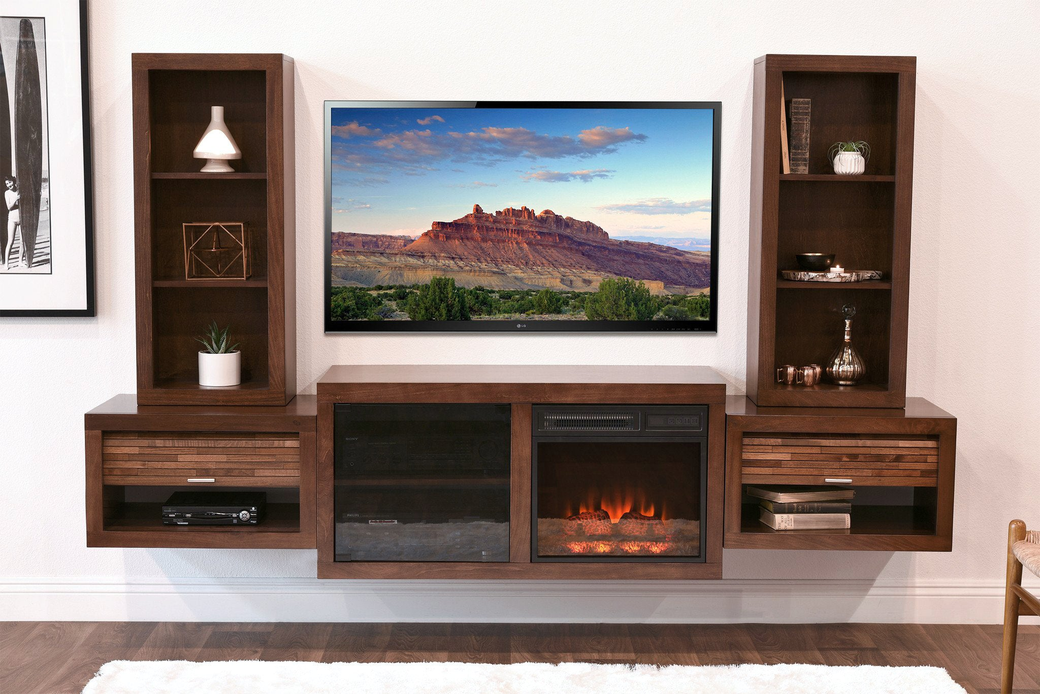 console mocha entertainment fireplace woodwaves tv products mountable wall eco floating geo