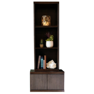 Floating Wall Mount Nightstand With Bookcase - Curve - Espresso