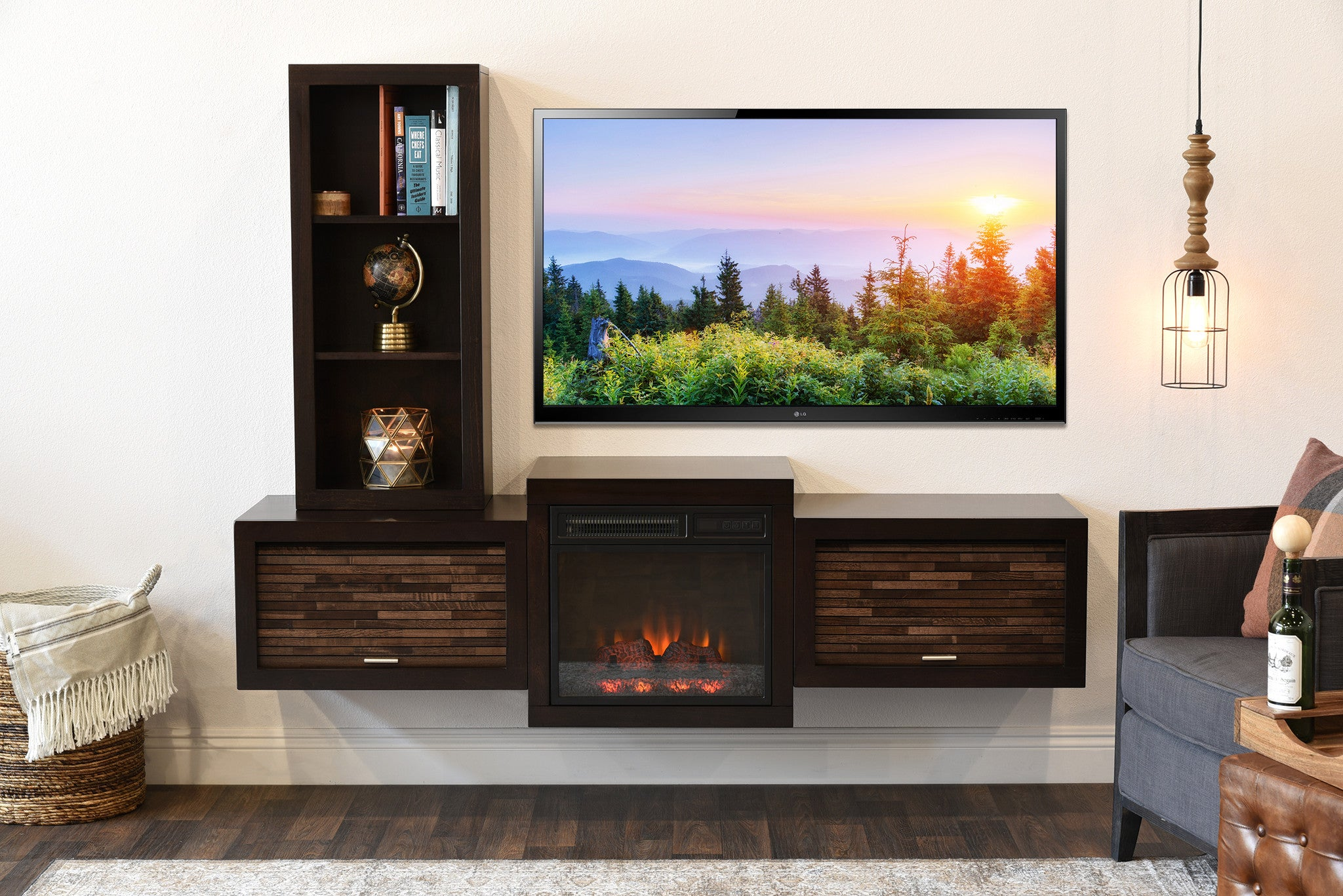 Tv Stand Designs On Wall : Floating wall mount tv stand with fireplace and bookcase