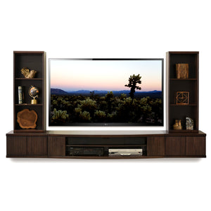 Floating TV Stand Wall Mount Entertainment Center - The Curve - 5 Piece Espresso