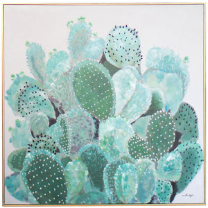 Framed Succulent Cactus Wall Art Painting With Gold Frame