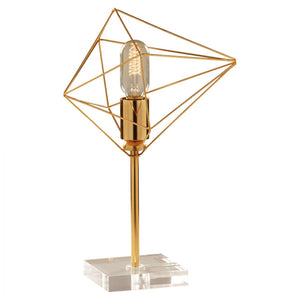 Modern Geometric Comet Table Lamp - Gold Finish and Acrylic