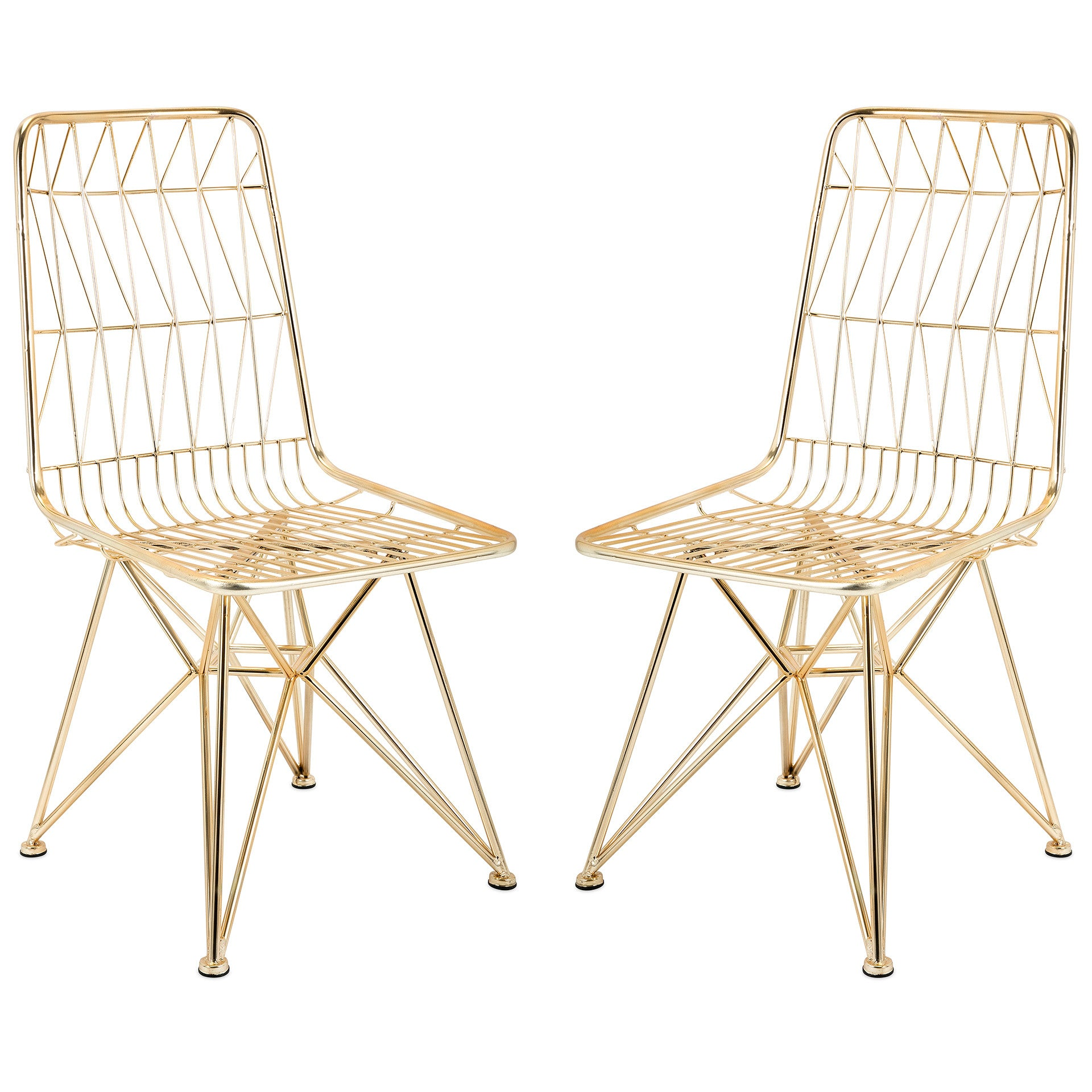 Modern geometric gold finish metal mid century chairs set of 2
