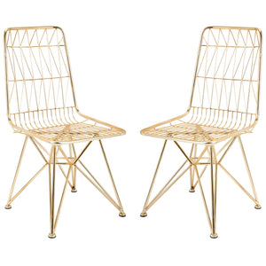 Modern Geometric Gold Finish Metal Mid Century Chairs - Set of 2