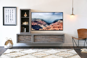 Gray Floating Wall Mount TV Stand Entertainment Center - ECO GEO Lakewood