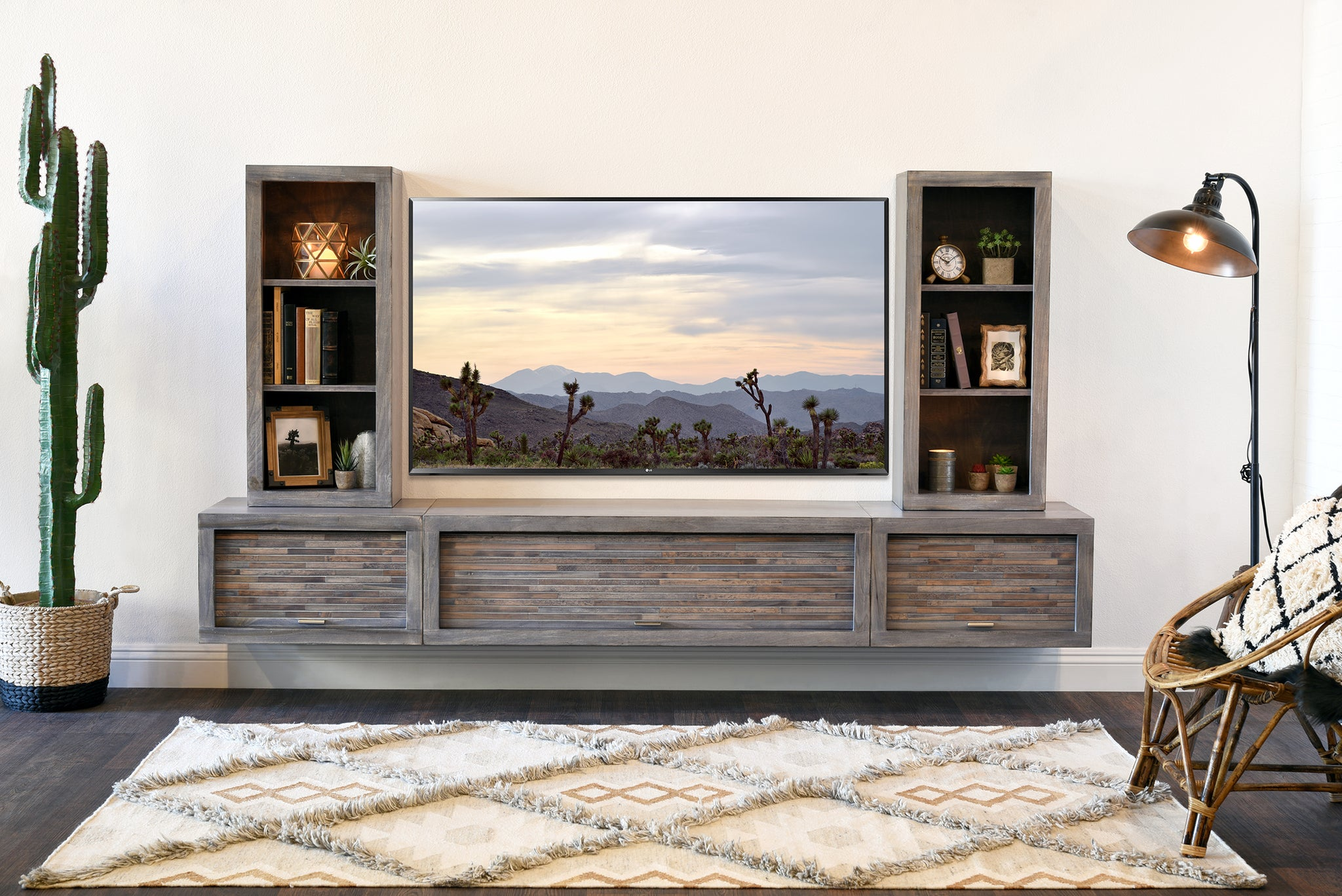 huge discount a285c fcdb3 Gray Floating TV Stand Modern Wall Mount Entertainment Center - ECO GEO  Lakewood