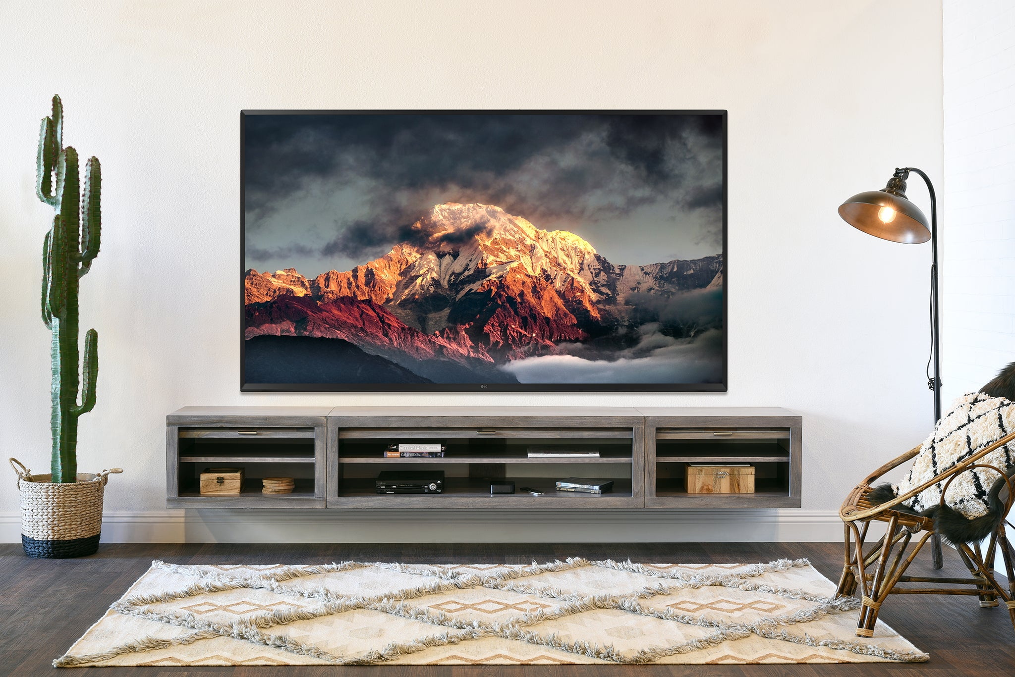 Image of: Gray Floating Tv Stand Entertainment Center Eco Geo Lakewood Woodwaves