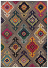 Modern Gray Multi-Color Ikat Style Rug
