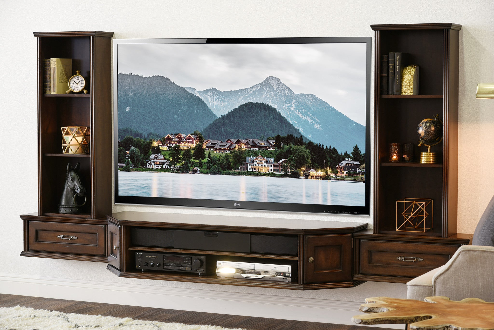 Transitional Wall Mount Floating Tv Stand Entertainment