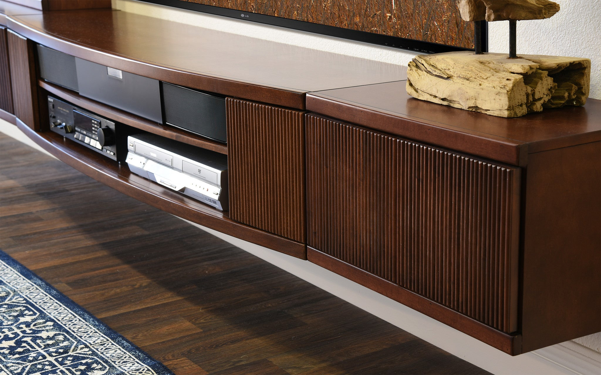 Floating Tv Stand Entertainment Center Console Curve