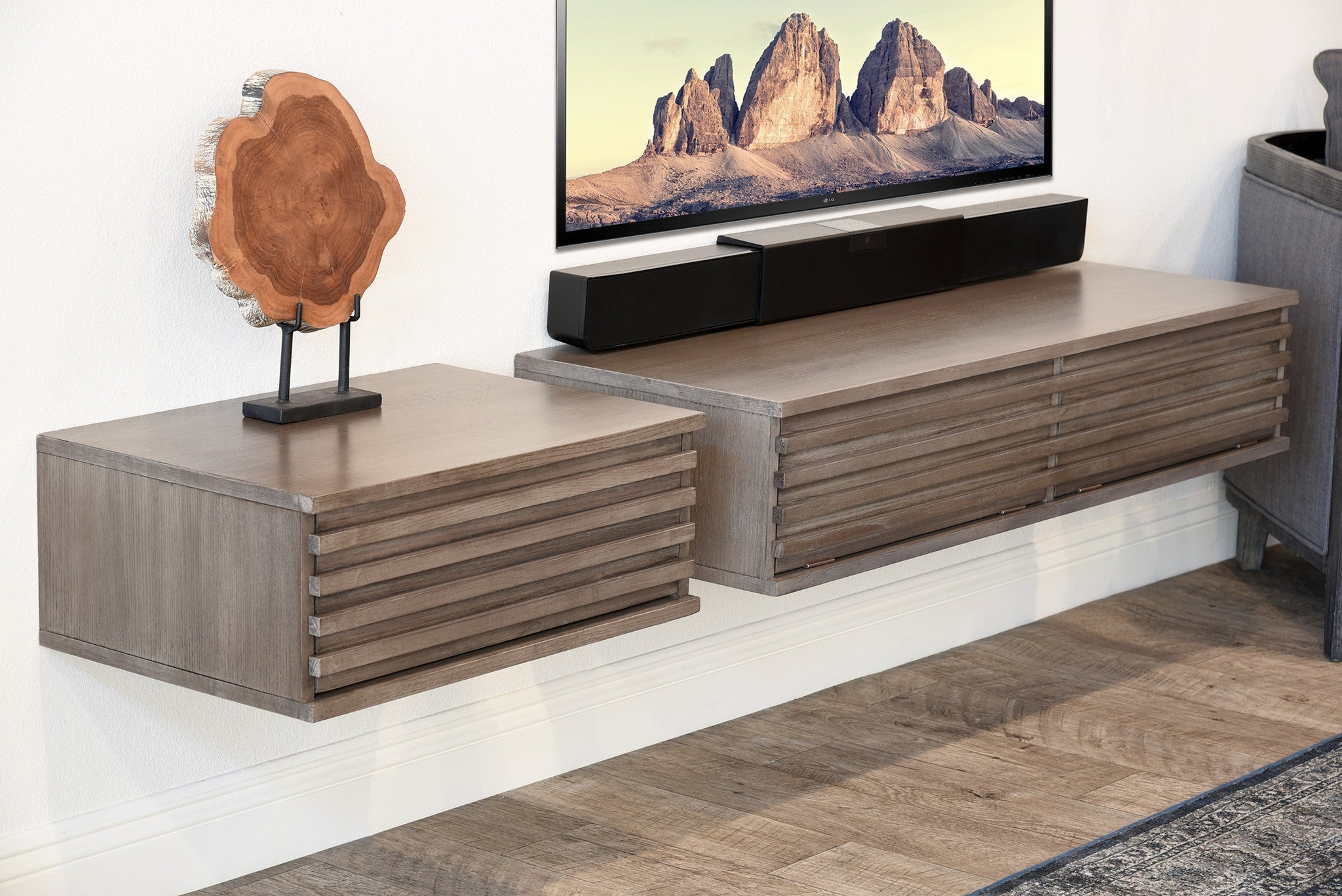 modern floating tv stand  lotus  piece  driftwood gray. modern floating tv stand  lotus  piece  driftwood gray  woodwaves