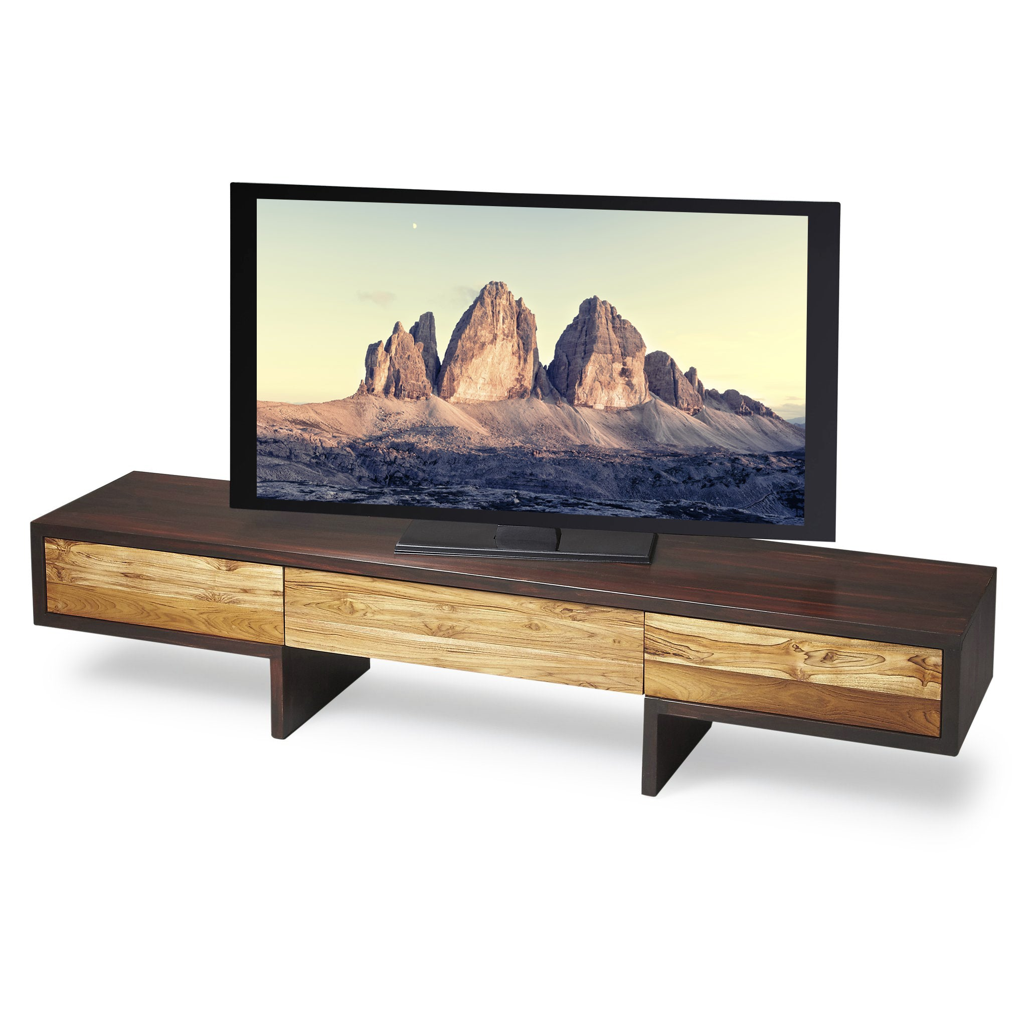 Modern Low Profile TV Stand Recycled Reclaimed Wood Console