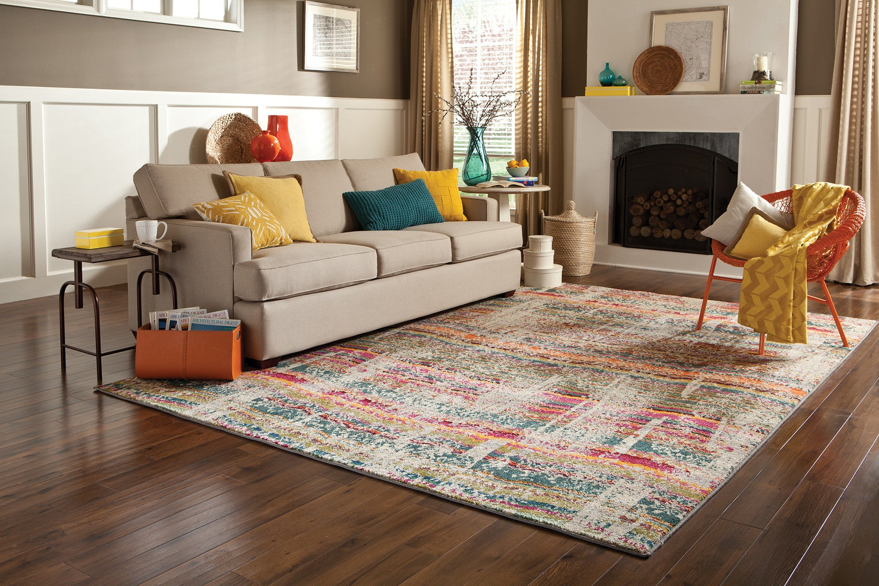 Multi Color Faded Wave Rug