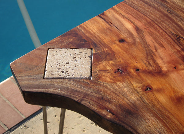 This slab desk was made from Avocado wood and features a stone tile coffee  mug holder. Live Edge Slab Desk   Woodwaves