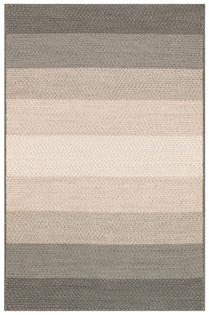 Modern Neutral Ivory Gray Striped Outdoor Rug