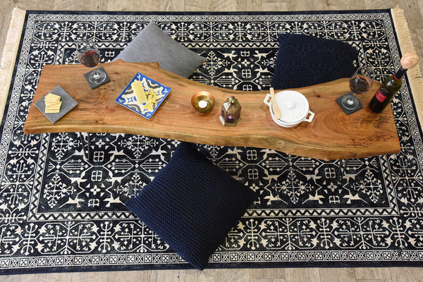 Modern navy blue and white persian style fringe rug for Blue and white oriental rug
