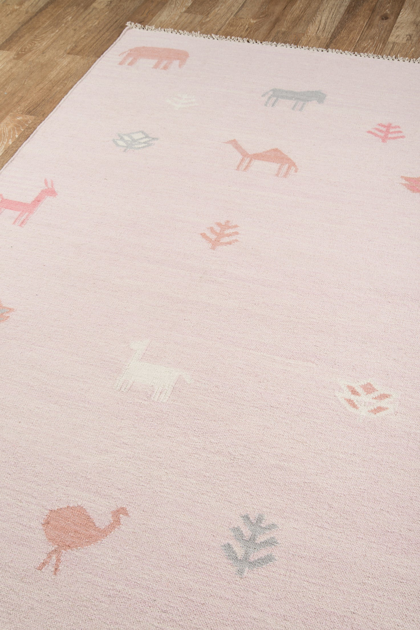 Modern Pink Handwoven Wool Kids Rug With Animals - Erin Gates - Thompson