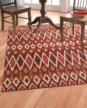 Mid Century Southwestern Red Orange and Ivory Diamond Pattern Rug