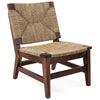 Modern Solid Walnut Woven Sea Grass Accent Chair