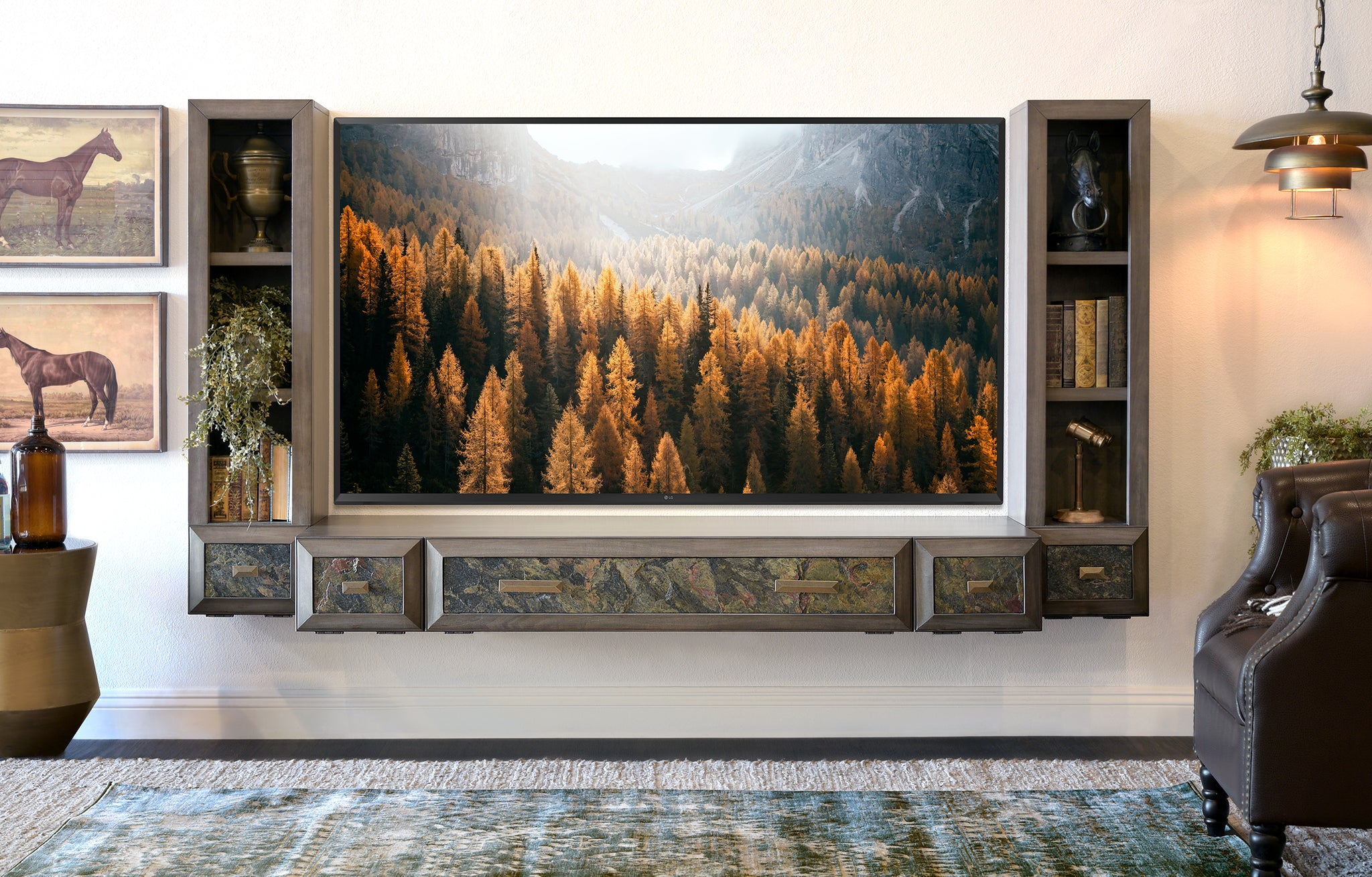 Gray Floating TV Stand Wall Mount Entertainment Center With Stone - Jupiter - Greystone