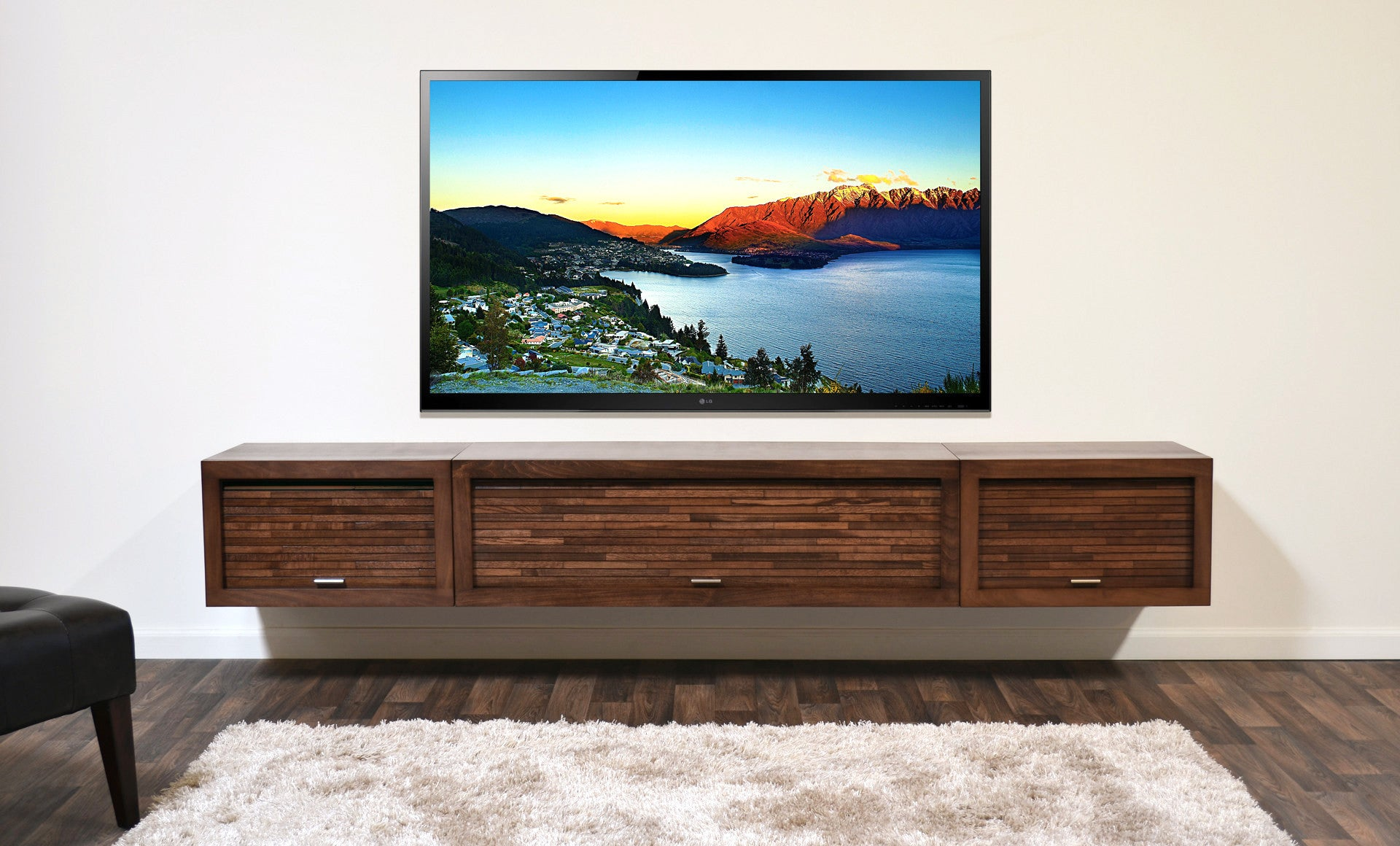quality design 47a5b f543e Wall Mounted Floating TV Stand Entertainment Center - ECO GEO Mocha