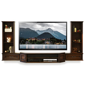 wall mount floating tv stand center vintage 3 piece u0026 bookcases