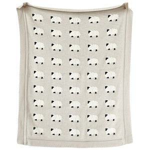 Modern Trendy Knitted Cotton Baby Blanket With Sheep