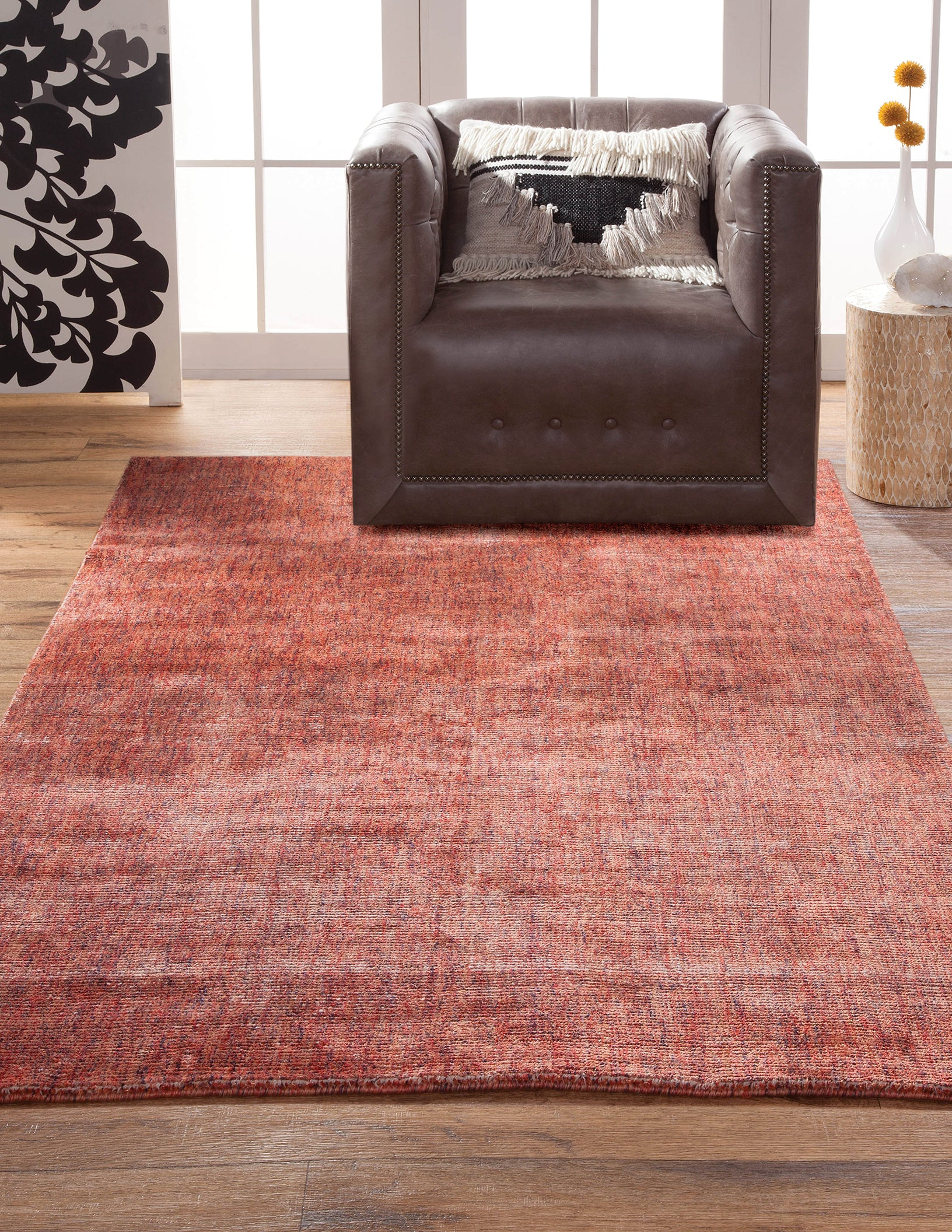 Modern Faded Red Rose Ivory Wool Area Rug Woodwaves