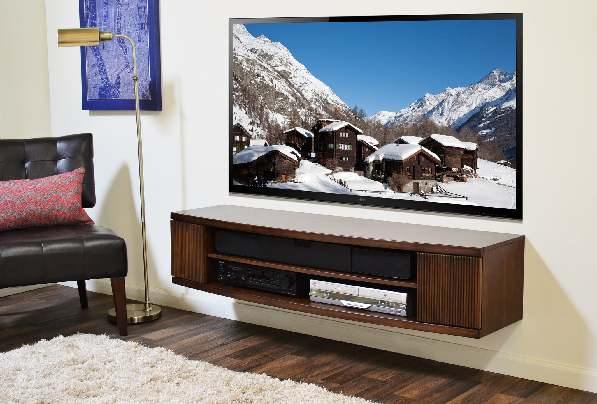 Curved Round Floating Tv Console The Curve Mocha