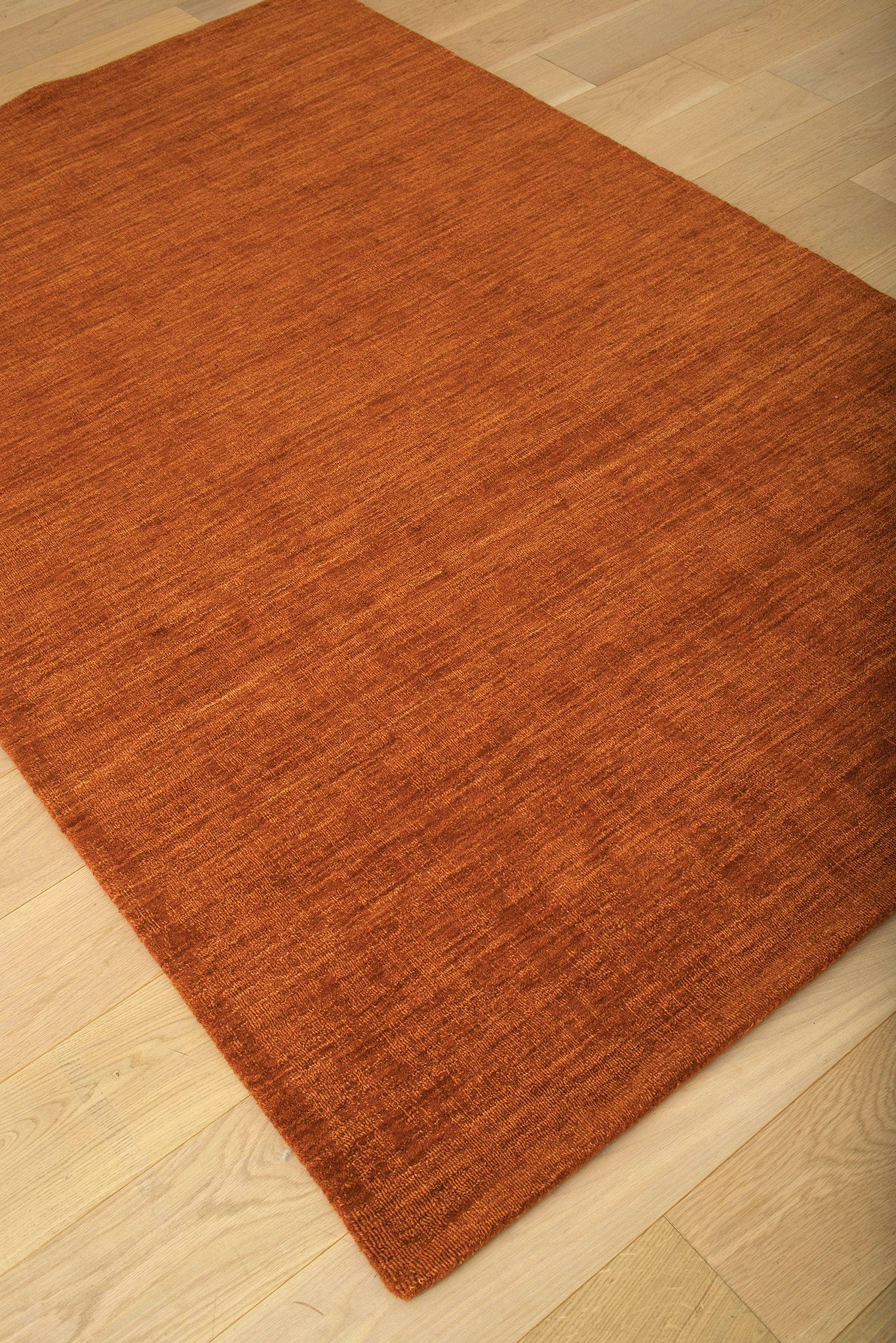 Burnt Orange Rust Wool Area Rug Woodwaves