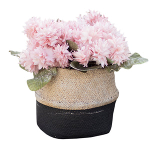 Modern Woven Basket Style Cement Planter With Black Stripe