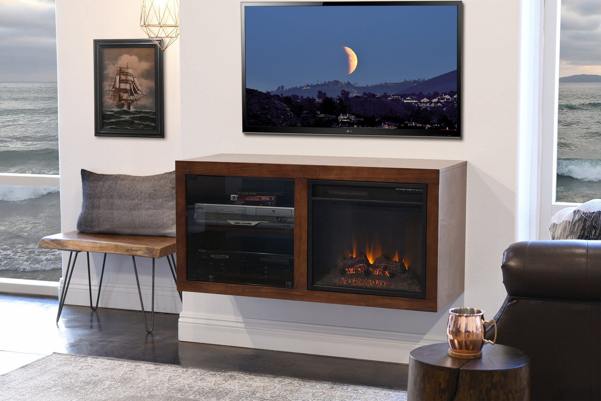 CLEARANCE! SAVE $100 OFF ORIGINAL PRICE OF $799!  HURRY! LIMITED STOCK! View Espresso Version Here Floating Electric Fireplace TV Stand The Eco Geo is a unique eco-friendly modular entertainment console which is handcrafted of solid Poplar and genuine M