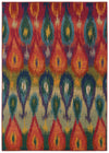 Multi-Colored Fuchsia Ikat Pattern Rug