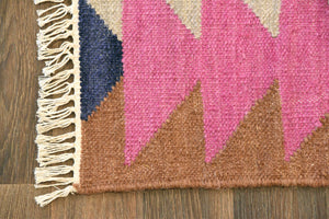 Southwest Bohemian Pink Multi Color Geometric Flat Weave Rug