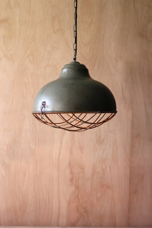 Industrial Modern Raw Metal Cage Pendant