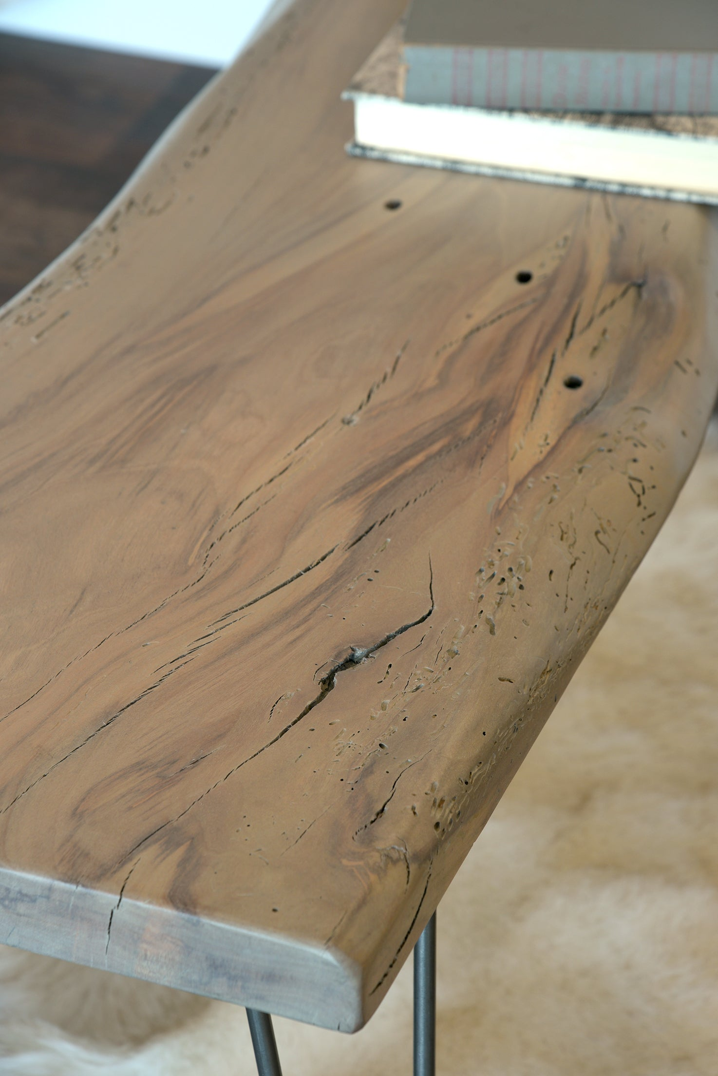 Natural Live Edge Slab Reclaimed Wood Coffee Table