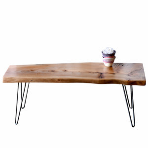 Natural Tone Reclaimed Live Edge Slab Coffee Table Bench