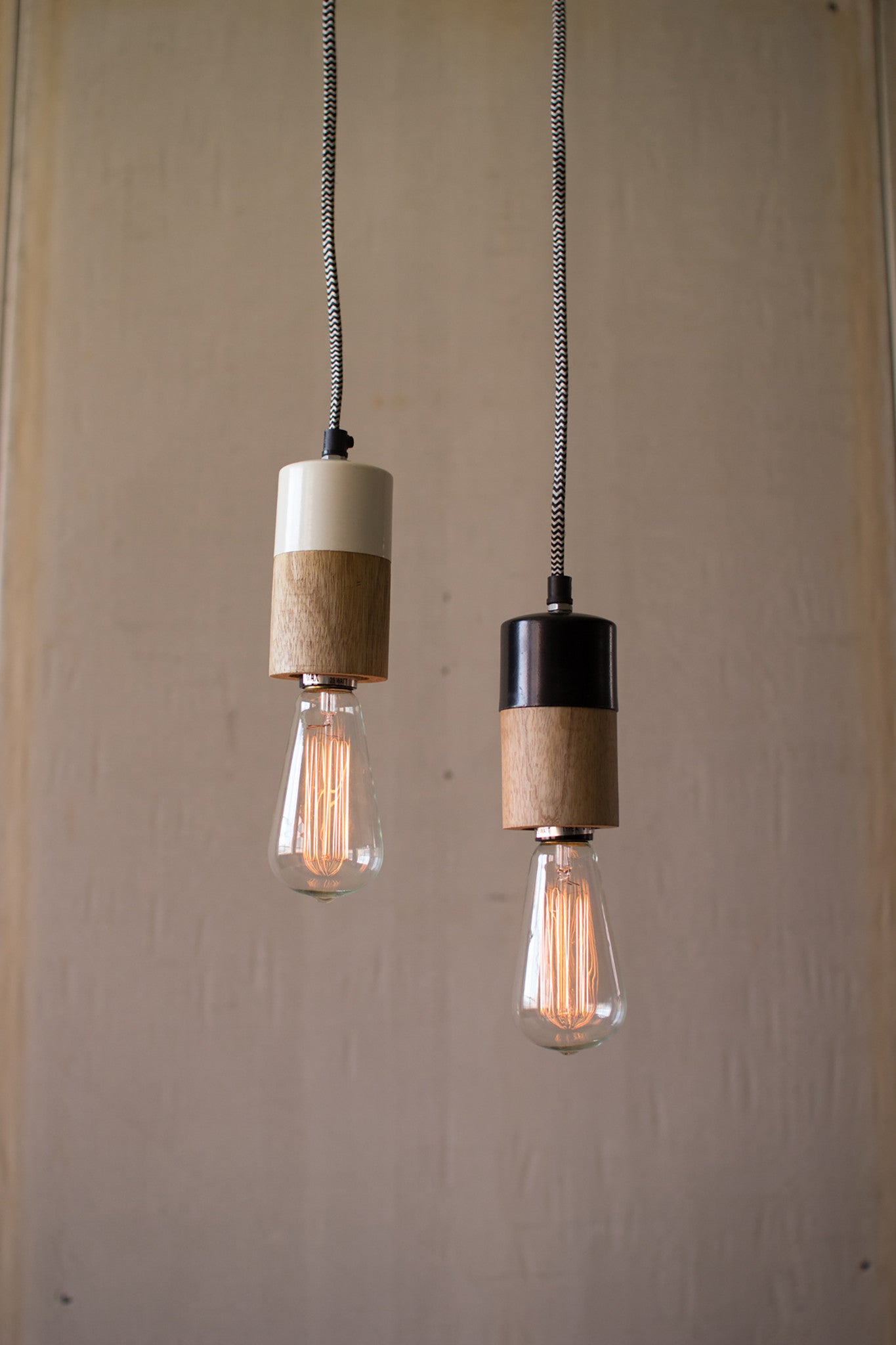 Natural Wood and Metal Pendant Lamp With Black Accent