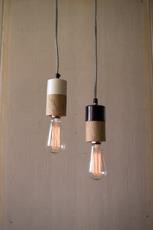 Natural Wood and Metal Pendant Lamp With White Accent