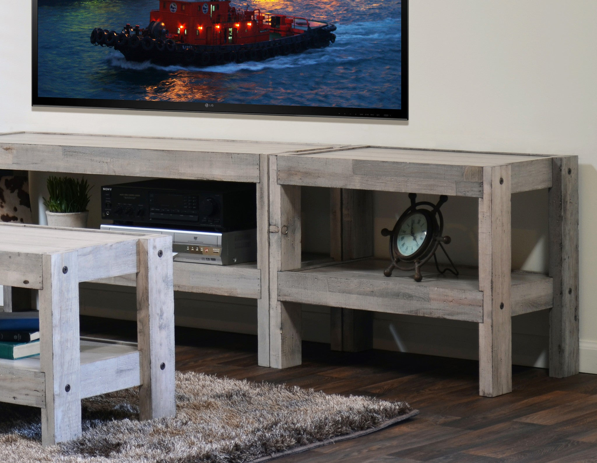 Reclaimed Media Cabinet Floating Tv Stand Entertainment Center Eco Geo Espresso Woodwaves