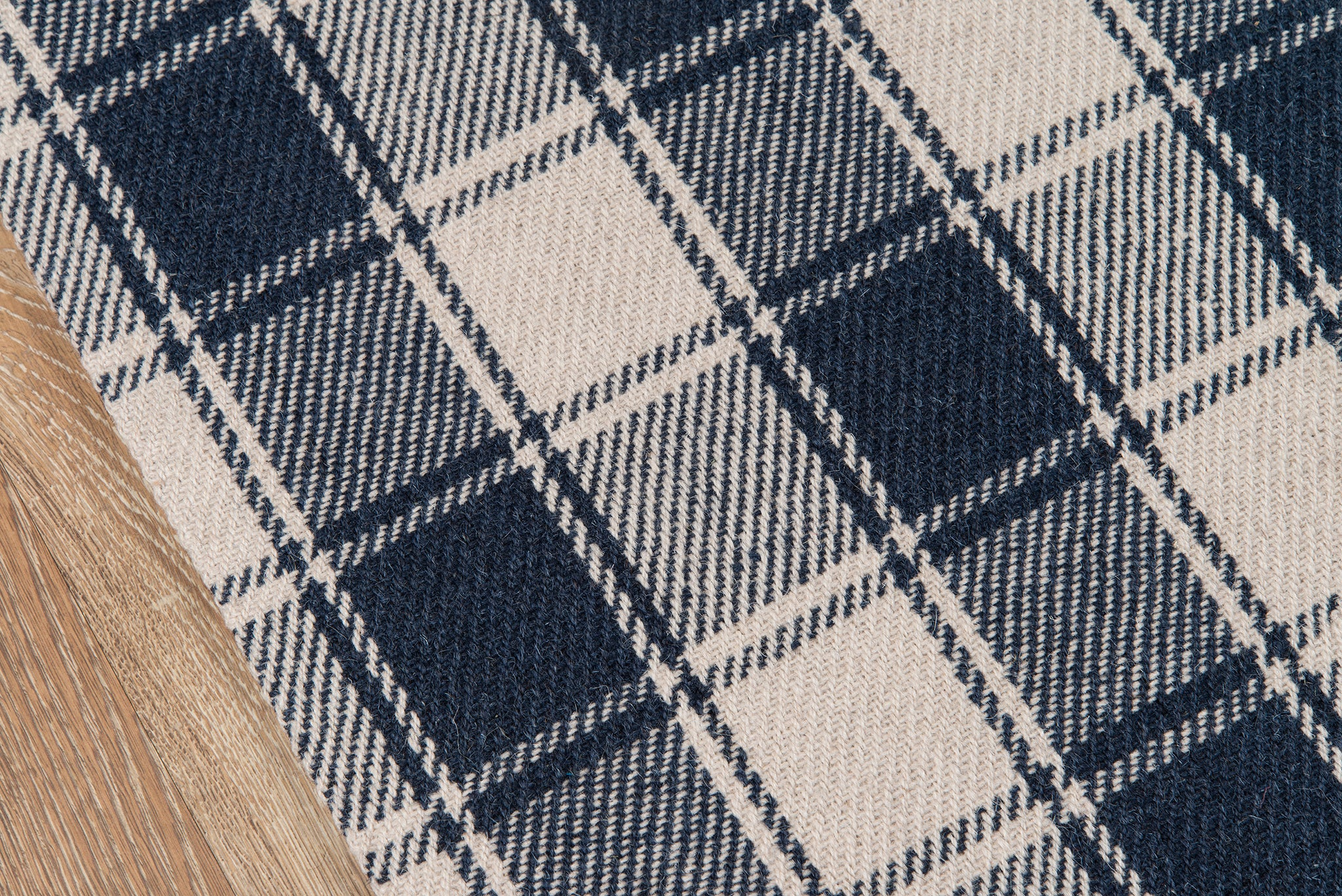 Navy Blue Plaid Tartan Wool Rug - Erin Gates - Marlborough